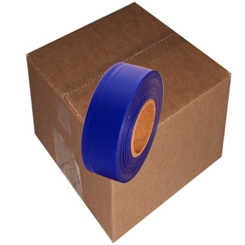 Blue Flagging Tape 1 3/16 inch x 300 ft Roll Non-Adhesive (12 Roll/Pack)