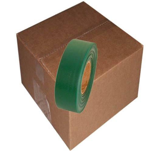 Green Flagging Tape 1 3/16 inch x 300 ft Roll Non-Adhesive (12 Roll/Pack)