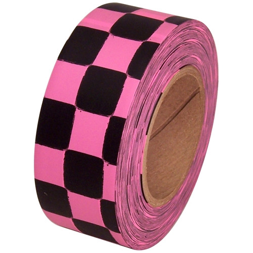 Fluorescent Pink and Black Checkerboard Flagging Tape 1 3/16 inch x 100 ft Roll Non-Adhesive