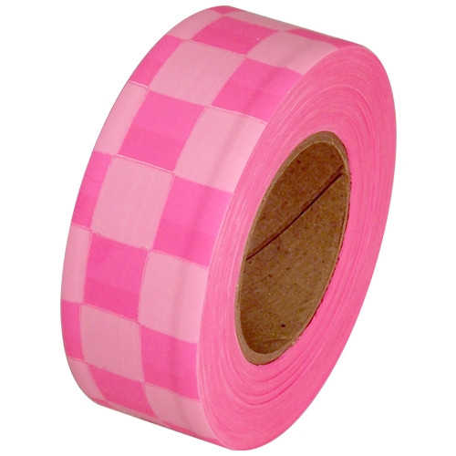 Fluorescent Pink and White Checkerboard Flagging Tape 1 3/16 inch x 100 ft Roll Non-Adhesive