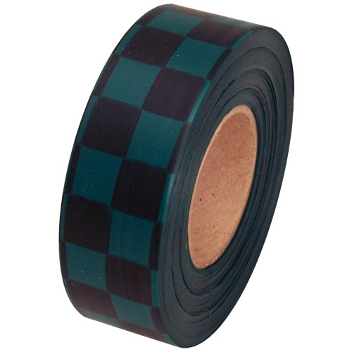 Black and Green Checkerboard Flagging Tape 1 3/16 inch x 300 ft Roll Non-Adhesive