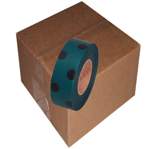 Green and Black Polka Dot Flagging Tape 1 3/16 inch x 300 ft Roll Non-Adhesive (12 Roll/Pack)