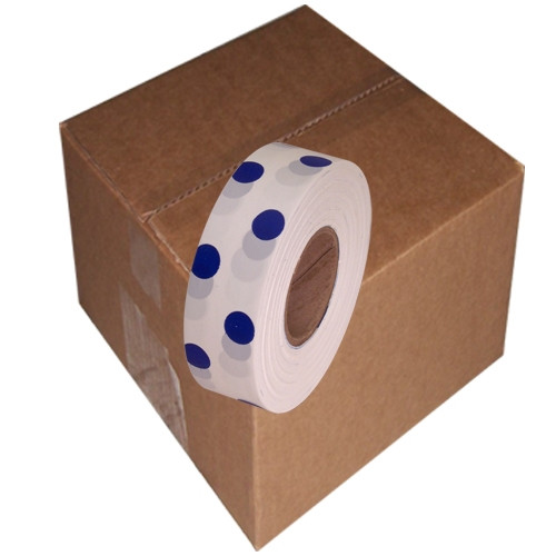 White and Blue Polka Dot Flagging Tape 1 3/16 inch x 300 ft Roll Non-Adhesive (12 Roll/Pack)