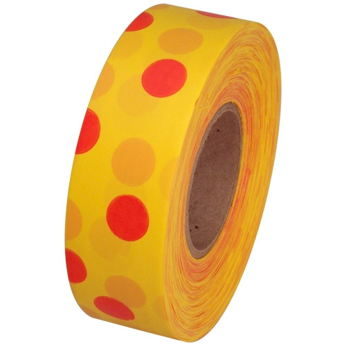 Yellow and Red Polka Dot Flagging Tape 1 3/16 inch x 300 ft Roll Non-Adhesive