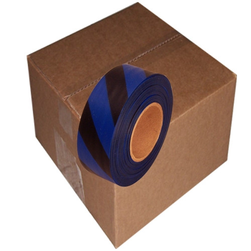 Blue and Black Safety Striped Flagging Tape 1 3/16 inch x 300 ft Roll Non-Adhesive (12 Roll/Pack)