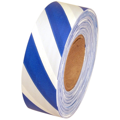Blue and White Safety Striped Flagging Tape 1 3/16 inch x 300 ft Roll Non-Adhesive