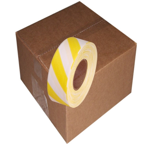 White and Yellow Safety Striped Flagging Tape 1 3/16 inch x 300 ft Roll Non-Adhesive (12 Roll/Pack)