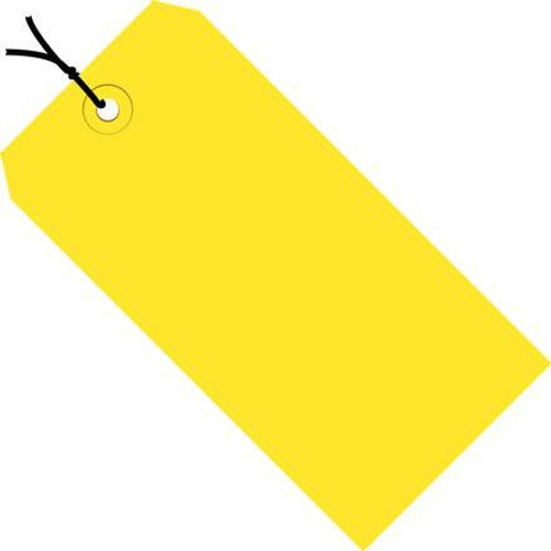 Colored Tags Pre-Strung Yellow 4 3/4 inch x 2 3/8 inch (1000 Per/Pack)