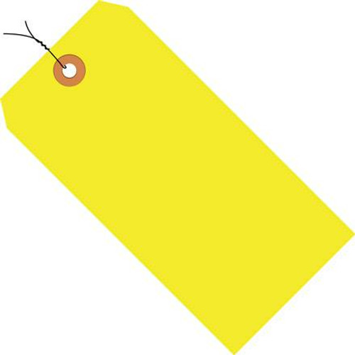 Shipping Tags Pre-Wired Fluorescent Yellow 3 1/4 inch x 1 5/8 inch (1000 Per/Pack)
