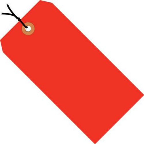 Shipping Tags Pre-Strung Fluorescent Red 4 3/4 inch x 2 3/8 inch (1000 Per/Pack)