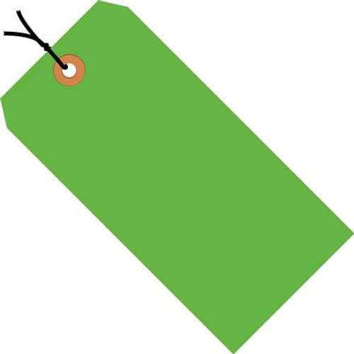 Shipping Tags Pre-Strung Fluorescent Green 6 14 inch x 3 1/8 inch (1000 Per/Pack)