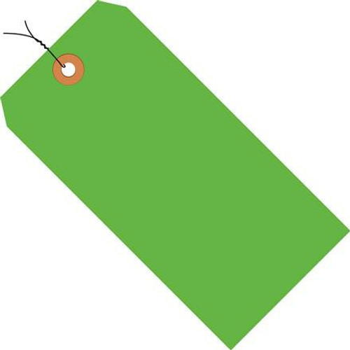 Shipping Tags Pre-Wired Fluorescent Green 6 14 inch x 3 1/8 inch (1000 Per/Pack)