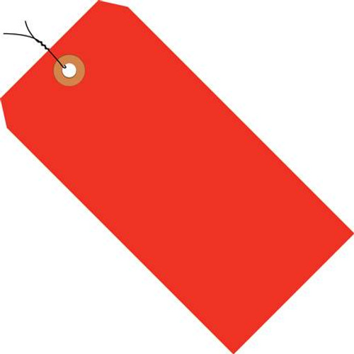 Shipping Tags Pre-Wired Fluorescent Red 6 14 inch x 3 1/8 inch (1000 Per/Pack)
