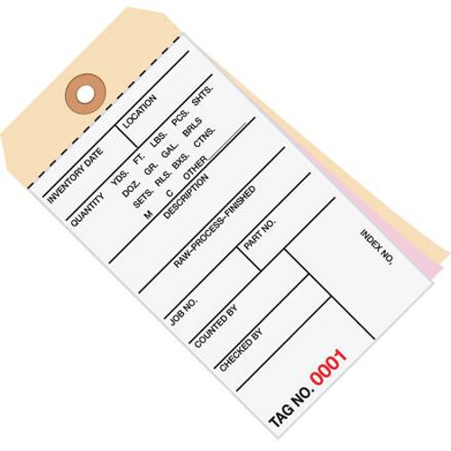 Inventory Tags 3 Part Carbonless 6 1/4 inch x 3 1/8 inch Numbered (3000-3499)