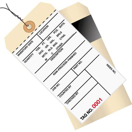 Inventory Tags Pre-Wired 1 Part Stub Style 6 1/4 inch x 3 1/8 inch Numbered (6000-6999)