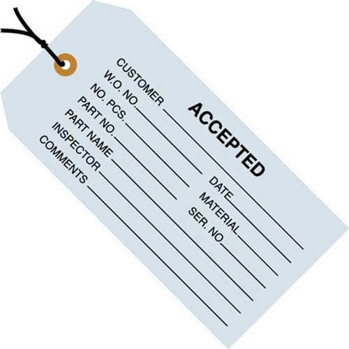 Inspection Tags Pre-Strung, ACCEPTED Blue 4 3/4 inch x 2 3/8 inch (1000 Per/Pack)