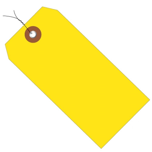 Plastic Pre-Wired Shipping Tags Yellow 6 1/4 inch x 3 1/8 inch (100 Per/Pack)