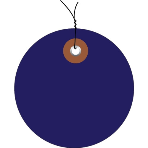 Plastic Pre-Wired Circle Tags Blue 2 inch (100 Per/Pack)