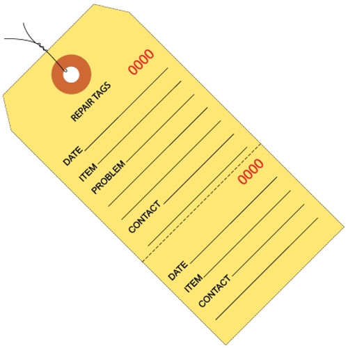 Repair Tags Pre-Wired Yellow 6 1/4 inch x 3 1/8 inch (1000 Per/Pack)