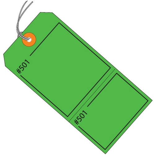 Claim Tags Green Pre-Strung 4 3/4 inch x 2 3/8 inch (1000 Per/Pack)