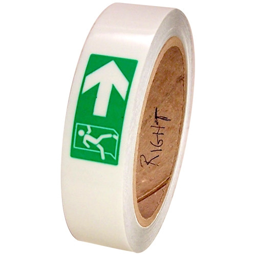 Directional Fire Exit Glow Tape 1 inch x 30 ft Roll - Right