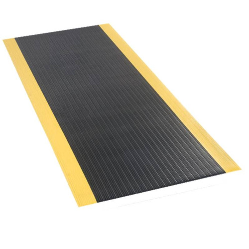 Economy Anti-Fatigue Mat Black/Yellow 3 ft x 60 ft x 3/8 inch