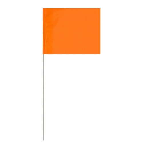 Marking Flags Florescent Orange 2 inch x 3 inch Flag with 12 inch Wire Staff (100 Flags)