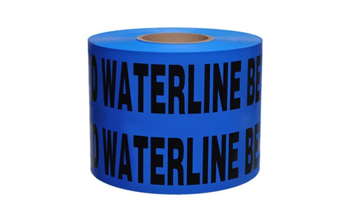 Non-Detectable Underground Tape - Caution Buried Water Line Below - 6 inch x 1000 ft Roll (4 Roll/Pack)