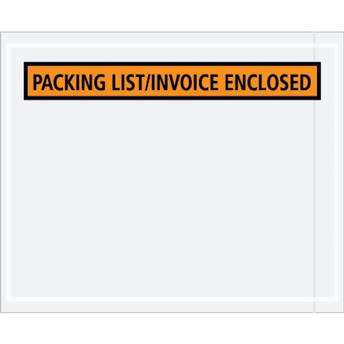 Orange  inchPacking List/Invoice Enclosed inch Envelopes 4 1/2 inch x 5 1/2 inch (1000 Pack)-1