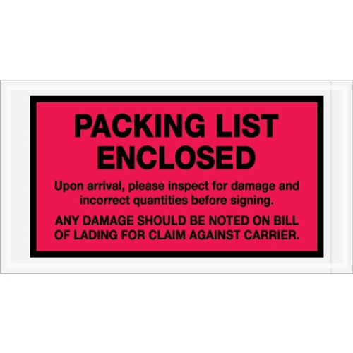 Special Use Red  inchPacking List Enclosed inch Envelopes 5 1/2 inch x 10 inch (1000 Pack)
