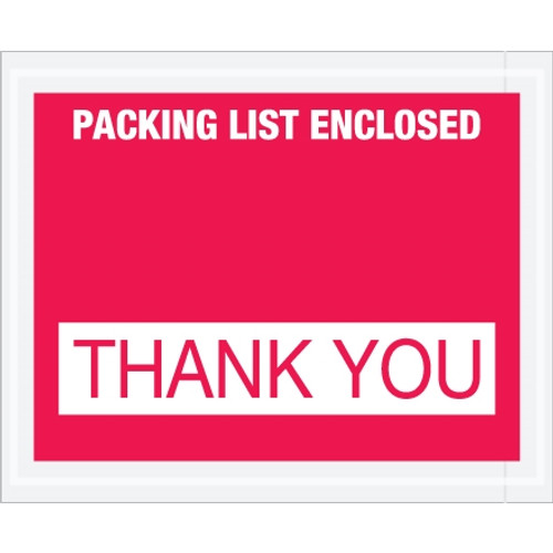 Special Use Red  inchPacking List Enclosed - Thank You inch Envelopes 4 1/2 inch x 5 1/2 inch (1000 Pack)