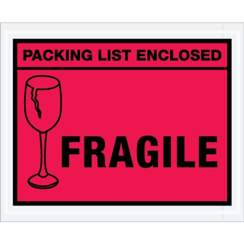 Special Use Red  inchPacking List Enclosed - Fragile inch Envelopes 4 1/2 inch x 5 1/2 inch (1000 Pack)