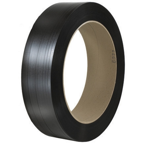 Hand Grade Polypropylene Strapping Black  5/8 inch x .025 x 6000 ft  Roll on 16 inch x 6 inch Core