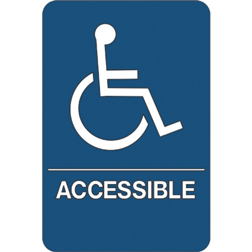 ADA Compliant Plastic Sign 9 inch x 6 inch - Wheelchair Accessible