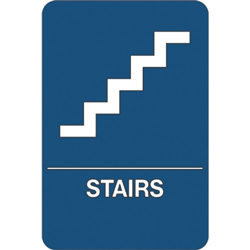 ADA Compliant Plastic Sign 9 inch x 6 inch - Stairs