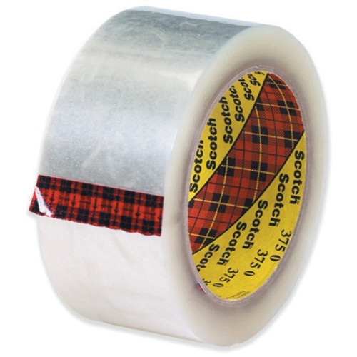 3M 375 Carton Sealing Tape Clear 2 inch x 55 yard Roll (6 Roll/Pack)