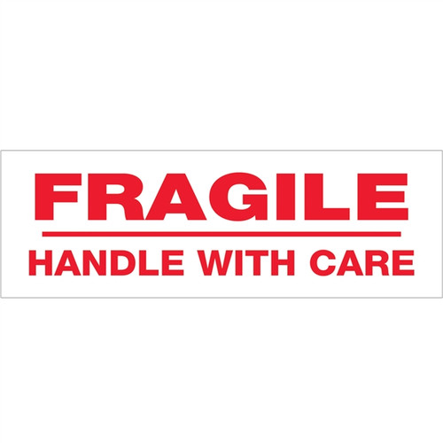 Tape Logic Pre-Printed Packing Tape White - Fragile Handle with Care 2 inch x 110 yard Roll (6 Pack)