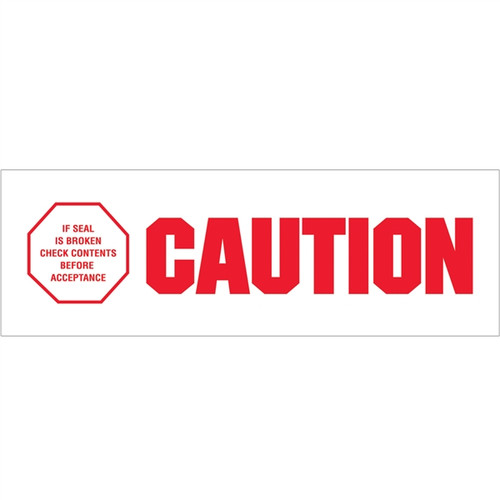 Tape Logic Pre-Printed Packing Tape White - Caution - If Seal is Broken 2 inch x 110 yard Roll (6 Pack)