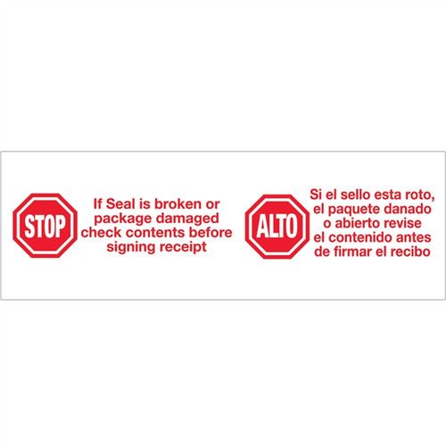 Tape Logic Pre-Printed Packing Tape White - Stop / Alto 2 inch x 110 yard Roll (6 Pack)