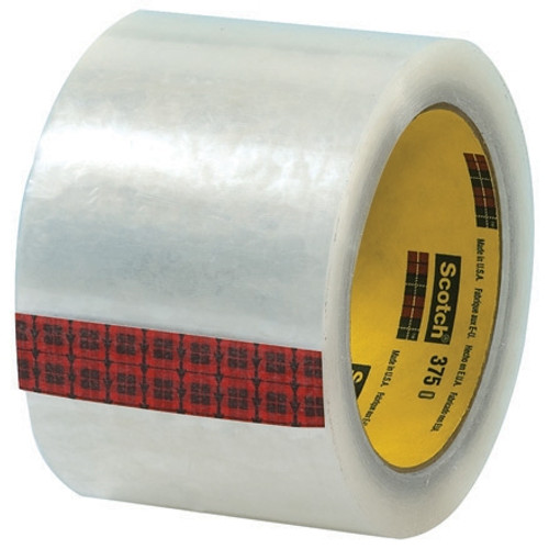 3M 375 Carton Sealing Tape Clear 3 inch x 55 yard Roll (6 Roll/Pack)