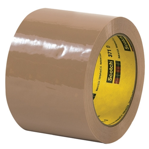 3M 371 Carton Sealing Tape Tan 3 inch x 55 yard Roll (6 Roll/Pack)