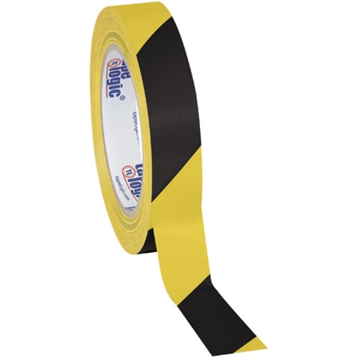 Tape Logic Black/Yellow Striped Vinyl Safety Tape 1 inch x 36 yard Roll (48 Roll/Pack)