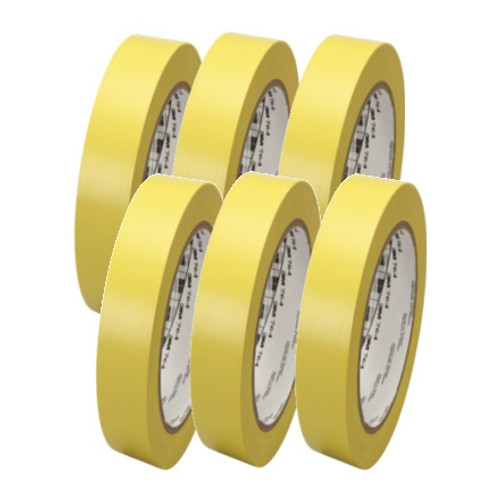 3M General Purpose Vinyl Tape 764 Yellow 1 inch x 36 yard Roll (6 Pack)