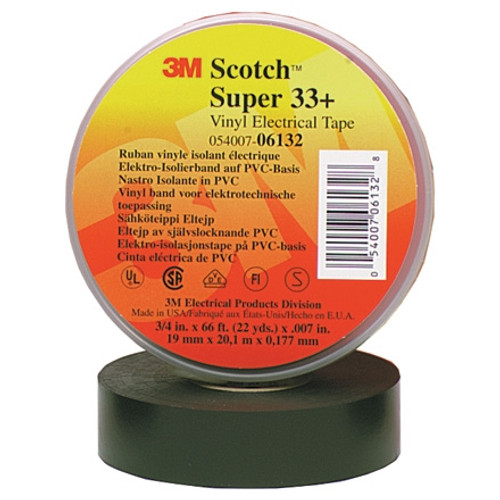 3M 33+ Electrical Tape Black 1 1/2 inch x 108 ft Roll (50 Roll/Pack)