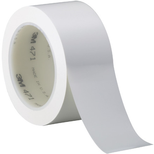 3M Vinyl Tape 471 White 2 inch x 36 yard Roll (24 Roll/Pack)