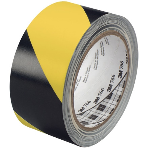 3M Hazard Warning Tape 766 Yellow/Black 2 inch x 36 yard Roll (24 Roll/Pack)