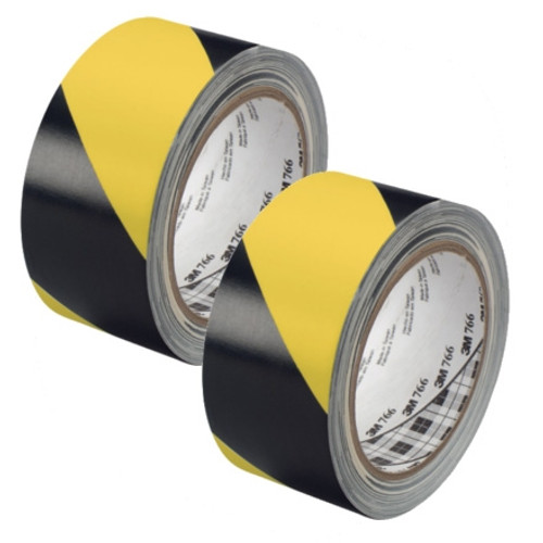 3M Hazard Warning Tape 766 Yellow/Black 2 inch x 36 yard Roll (2 Pack)