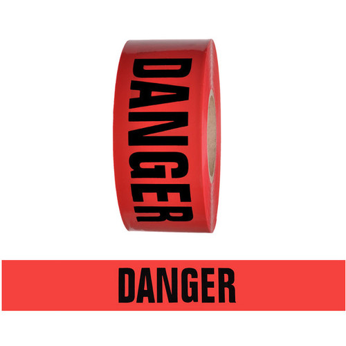 """Barricade Tape - Danger - Red 3"""" x 1000 ft Non Adhesive 2 mil"""