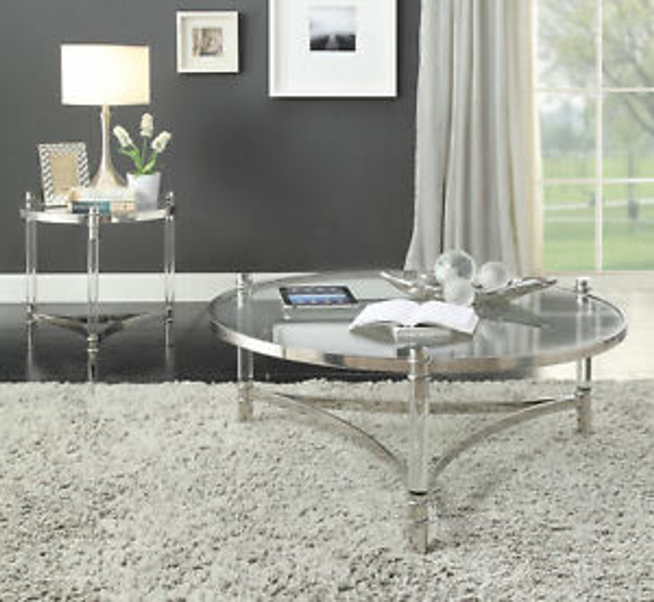 The Peony Coffee Table W Clear Acrylic Stainless Steel Clear