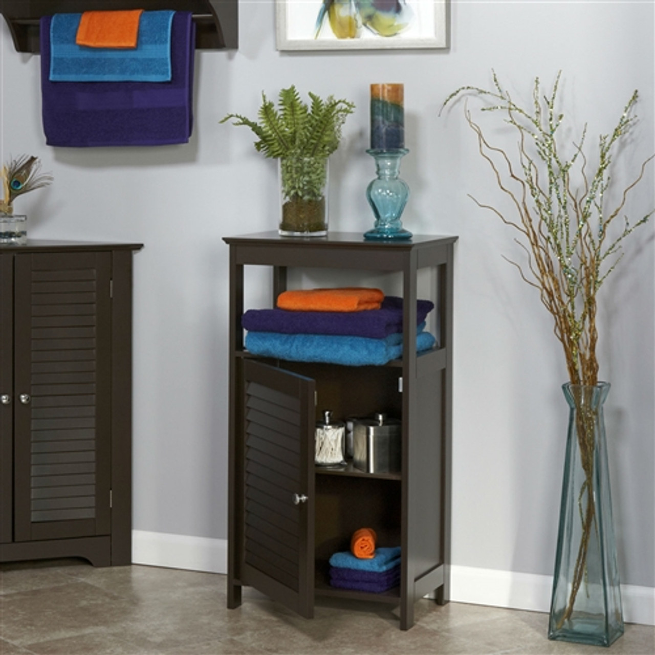 Modern Bathroom Floor Cabinet Free Standing Storage Unit In Espresso Wood Finish Exquisite Furniture